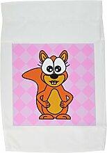 3drose FL _ 6324_ 1Cute Happy Frau squirrel-pink, Garten Flagge, 12von 18