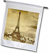 3drose FL _ 6795_ 1Eiffelturm Paris Frankreich 1889Sepia Ton Garten Flagge, 12von 18