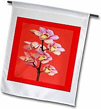3dRose FL 80387_ 1Oriental rosa Orchideen auf Rot Garten Flagge, 12von 18