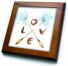 3dRose Fliese mit Pusteblumen und Liebe in
