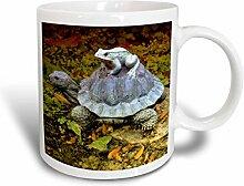 3dRose Garten-Figur, Frosch mit Keramik-Tasse,