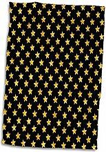3dRose Gold Effekt Sterne auf schwarz Muster