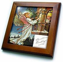 3dRose Greetings Wandfliese mit Weihnachtsbaum,