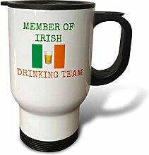 3dRose, Grün,-mit Irland-Flagge, Reise-Becher,