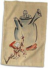 3dRose Handtuch, Bild asiatischer Teekanne mit