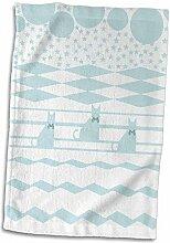 3dRose Handtuch mit DREI Katzen mit Schleifen auf
