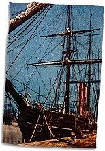 3dRose Handtuch, Vintage-Stil, Motiv Dampfschiff