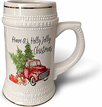 3dRose Holly Jolly Becher mit rotem Truck mit