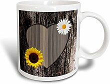 3dRose Holz Bild Herz mit Sonnenblume und Daisy