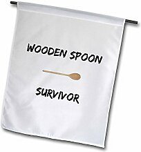 3dRose Holz Löffel Survivor-Garten Flagge,