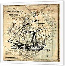 3dRose HT 204904_ 1Print of Vintage Chesapeake