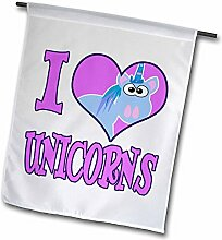 3dRose I Heart Love Unicorns Cartoon – Garten