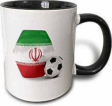 3dRose Iran Fußball Ball-Two Ton Becher, Keramik,