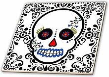 3dRose Keramik-Fliese, Tag der Toten, Totenkopf,