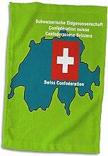 3dRose Landkarte und Flagge der Schweiz mit
