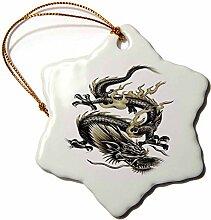 3dRose LLC Orn 63149_ 1Porzellan Schneeflocke Ornament, 3Zoll,Lucky dragon-dragon/Chinesischer Drache/Chinese New Year/Geschenkidee/Väter Tag