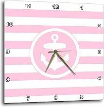 3dRose Maritim Anker Kreis auf Light Pink & Weiß