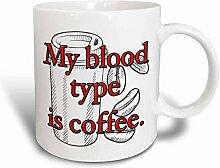 3dRose Mein Herz Form, Kaffeebecher, Keramik, Rot,