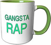 3dRose mug_243852_7 GANGSTA RAP, Green Becher,