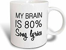 3dRose My Brain ist 80Prozent Lied Lyrics-Magic