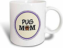 3dRose Pug Dog Mom Becher, Keramik, blau, 11 oz
