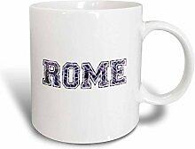 3dRose Rome Text Becher, Keramik, Ceramic, 11 oz