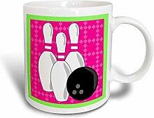 3dRose, Rosa, Grün, Bowling-Ball, Kaffeebecher,