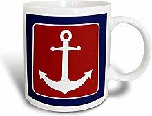 3dRose, Rot, Weiß und Blau, Kaffeebecher,