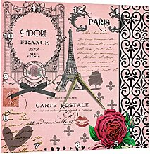 3dRose stylische Vintage Pink Paris Collage