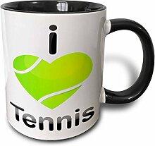 3dRose Tennis I Love, Grün, herzförmige Ball-Two