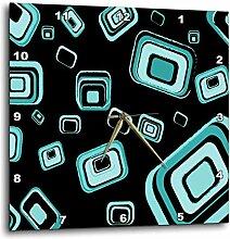 3dRose türkis Retro Squares Muster–Wanduhr,