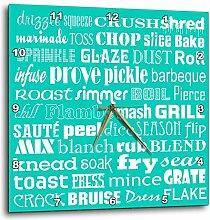 3dRose türkis und weiß Kochen Words Typography