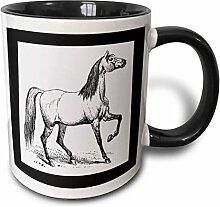 3dRose Vintage Pferd Sketch-Two Ton, schwarz,