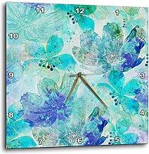 3dRose Wanduhr, abstraktes Blumenmuster, 25,4 x