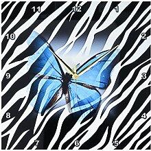 3dRose Wanduhr Schmetterling auf Zebra, 33 x 33