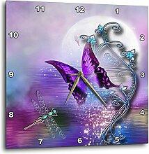 3dRose Wanduhr Schmetterling Libelle und magische