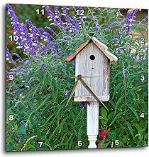 3dRose Wanduhr, Vogelhaus im Garten mit