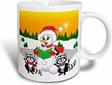 3dRose Waschbär- und Schneemann-Weihnachtslieder