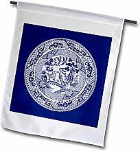 3dRose Weiden Muster in Delft Blau &
