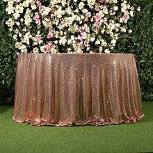 3E Home 108R Zoll Pailletten Tischdecke Runde für Geburtstagsfeier Hochzeitsbankett sparkly Dekoration-Champagner.