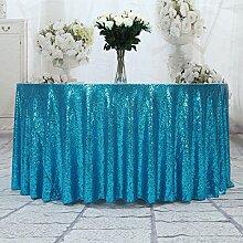 3E Home 48R Zoll Pailletten Tischdecke Runde für Geburtstagsfeier Hochzeitsbankett sparkly Dekoration-Türkis.