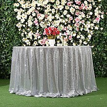 3E Home 50R Zoll Pailletten Tischdecke Runde für Geburtstagsfeier Hochzeitsbankett sparkly Dekoration-Silber-.