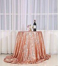 3E Home Runde Pailletten-Tischdecke für Party,