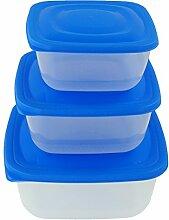 3er Dosenset Blau lebensmittelecht, dieses ist geeignet für Gefrierschrank und Spülmaschine. Fest verschlossen Dank optimaler Geometrie, Multifunktionsboxen, Frischhaltedosen