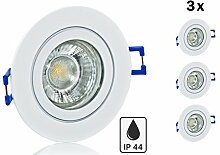 3er Feuchtraum LED Einbaustrahler Set IP44 mit