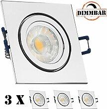 3er IP44 LED Einbaustrahler Set Chrom mit COB LED