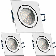 3er IP44 LED Einbaustrahler Set Chrom mit LED GU10