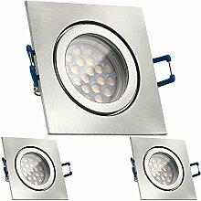 3er IP44 LED Einbaustrahler Set Silber gebürstet