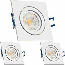3er IP44 LED Einbaustrahler Set Weiß mit COB LED