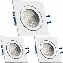 3er IP44 LED Einbaustrahler Set Weiß mit LED GU10